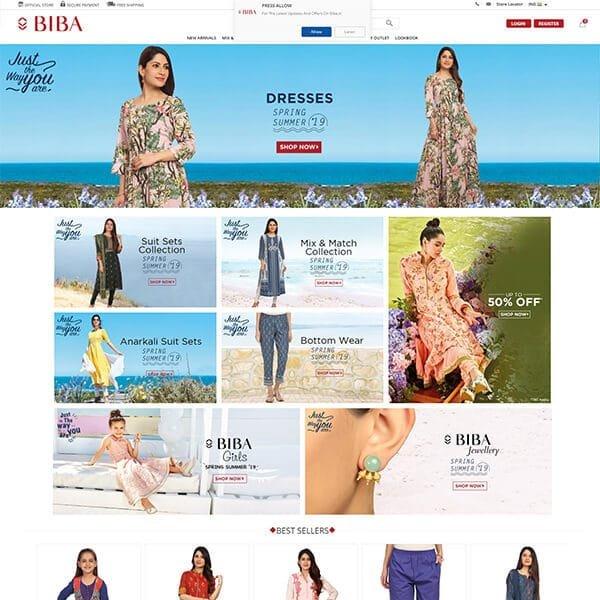 Biba.in Home Page Screenshot