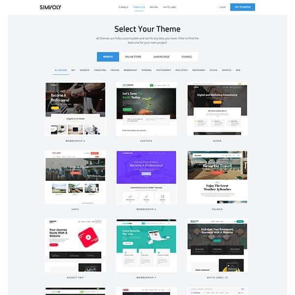Simvoly.com Templates Page Screenshot
