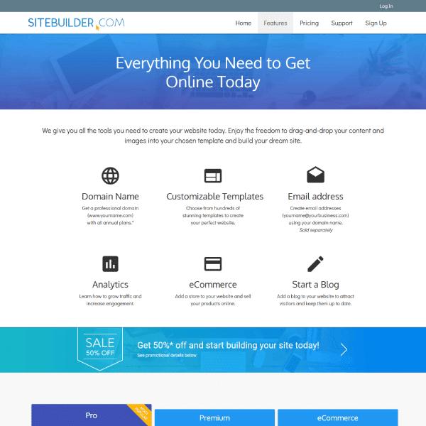 SiteBuilder.com Feature Page Screenshot